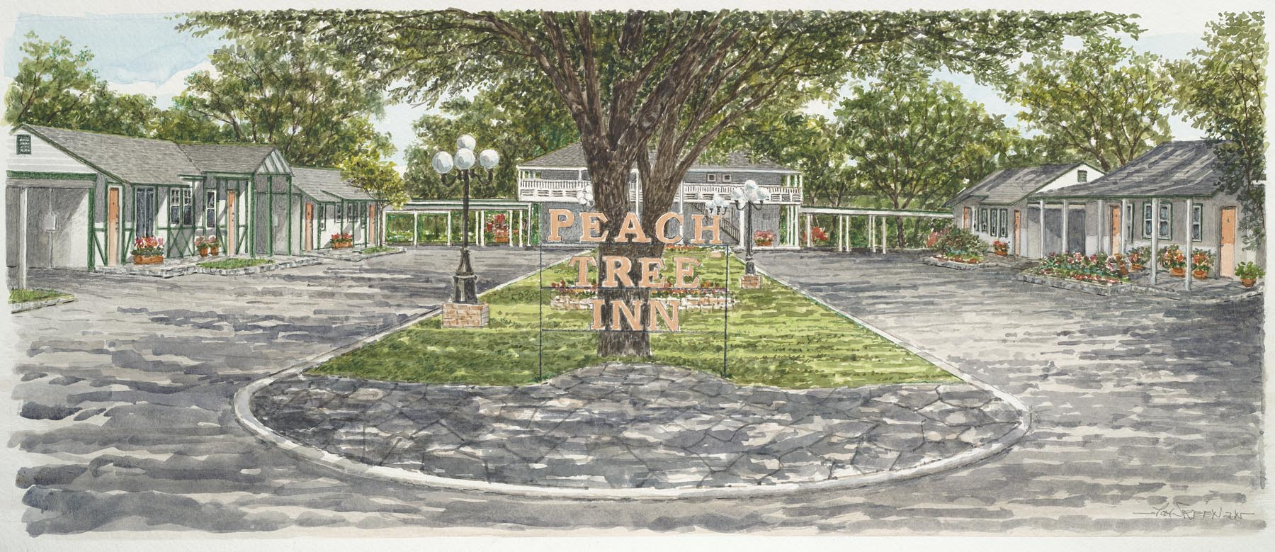 Drawing of Peach Tree Inn courtyard.