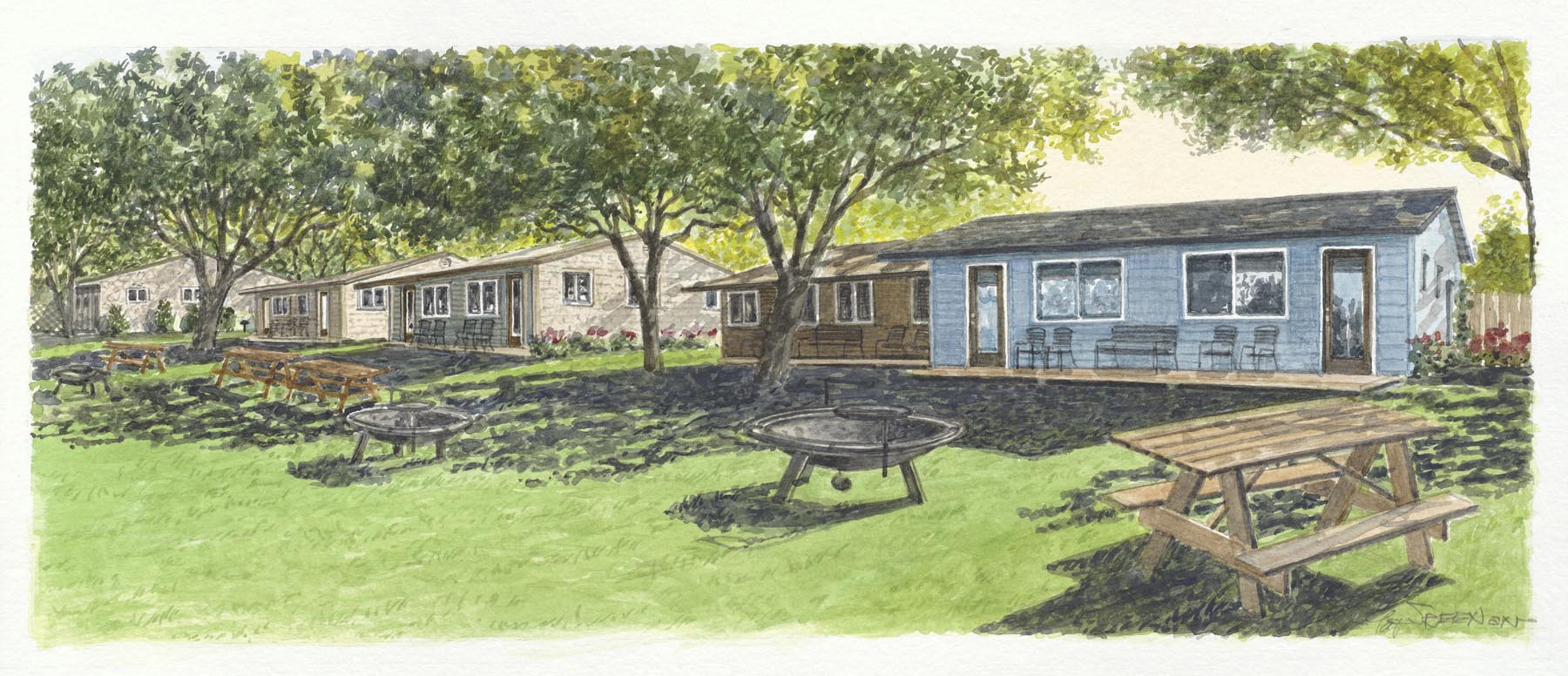 Drawing of buildings and firepits of Peach Tree Inn.